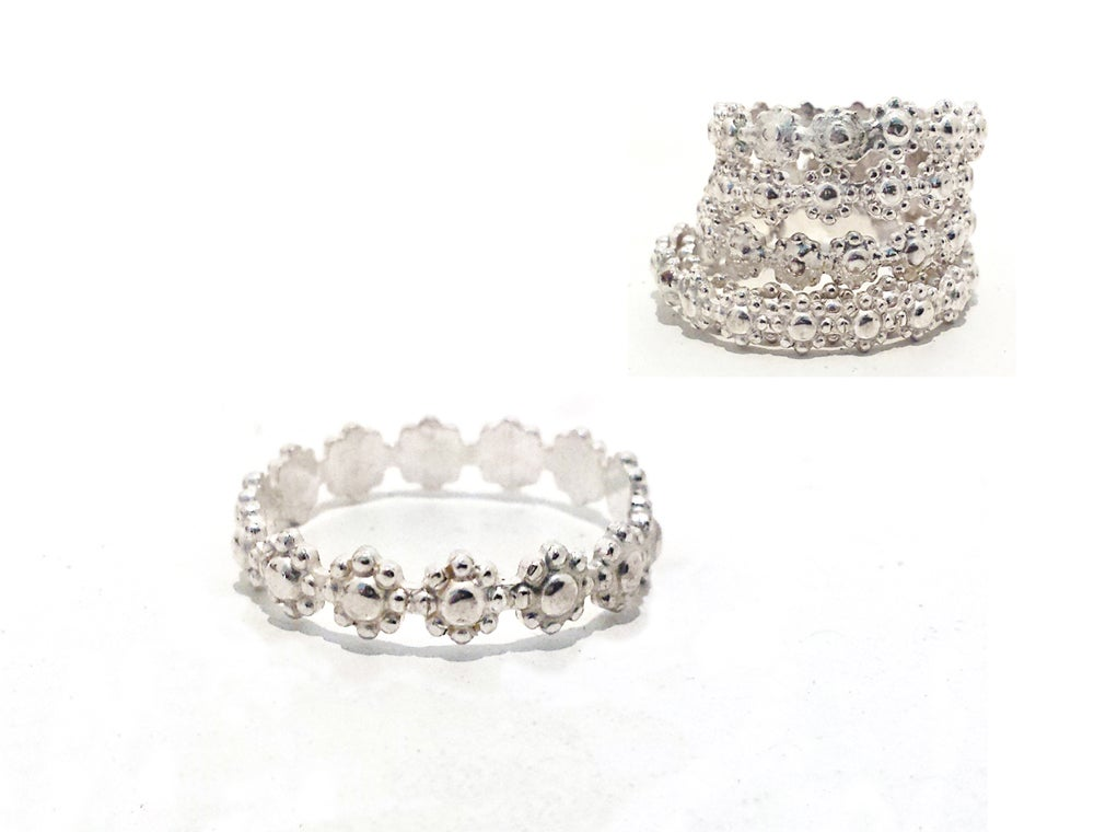 Image of Sterling Silver Floral Petite Stacker or Midi Bands