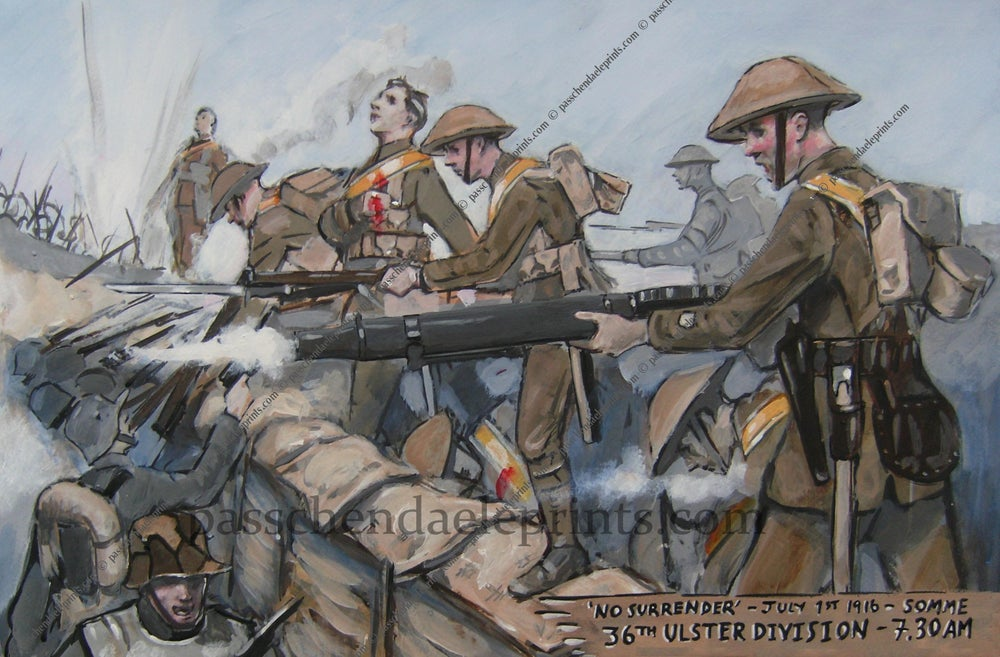 Image of 36TH ULSTER PRINT 1ST JULY 1916 (LEWIS GUN & SASH )