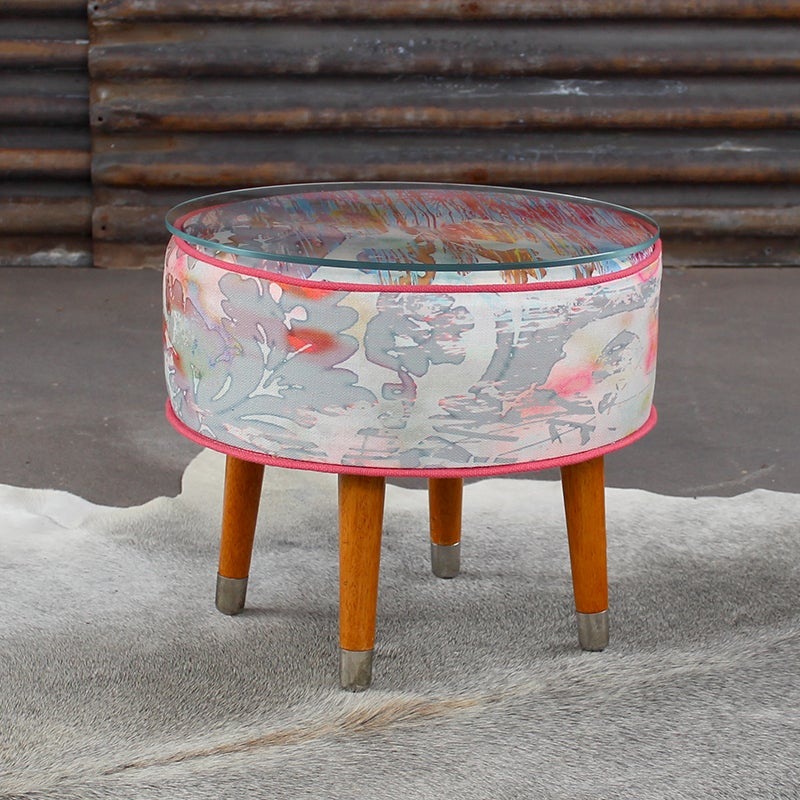 Image of JOSIAH Glass Top Sidetable / Footstool