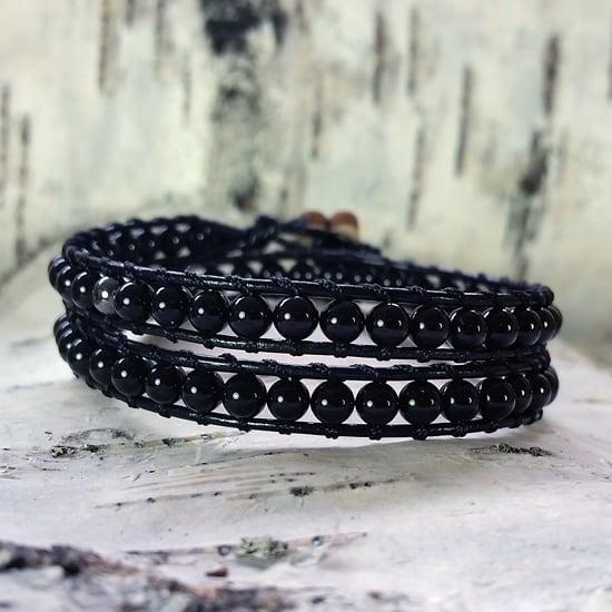 Image of Black Onyx Beads on Black Leather Double Wrap Bracelet