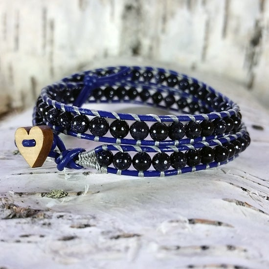 Image of Midnight Blue Goldstone Beads on Indigo Leather Double Wrap Bracelet