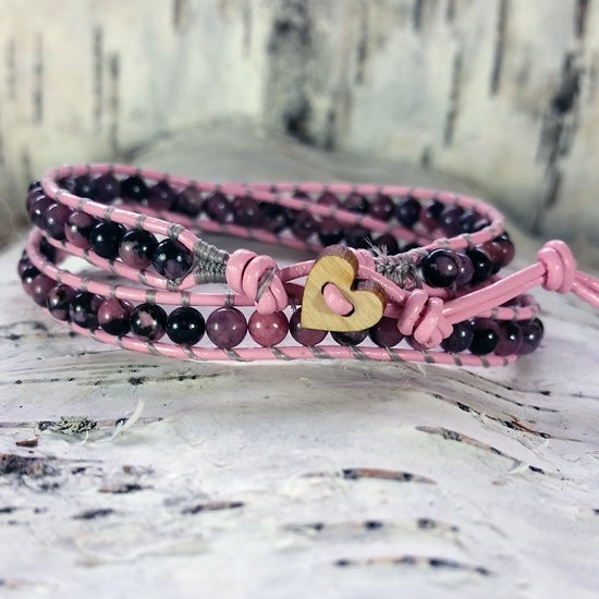 Image of Rhodonite Beads on Pink Leather Double Wrap Bracelet (W-RDPk-02)