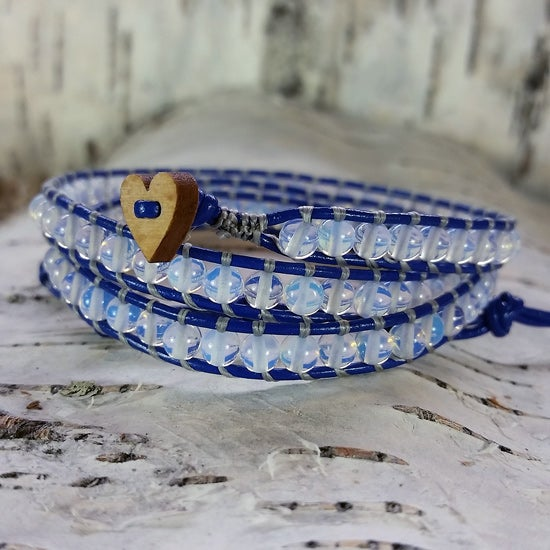 Image of Moonstone Beads on Indigo Leather Double Wrap Bracelet
