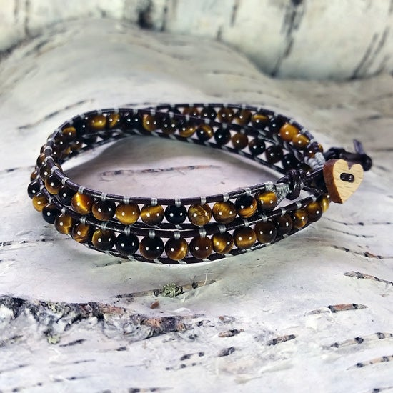 Image of Tigers Eye Beads on Chocolate Brown Leather Double Wrap Bracelet