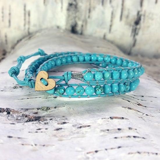 Image of Turquoise Beads on Turquoise Leather Double Wrap Bracelet