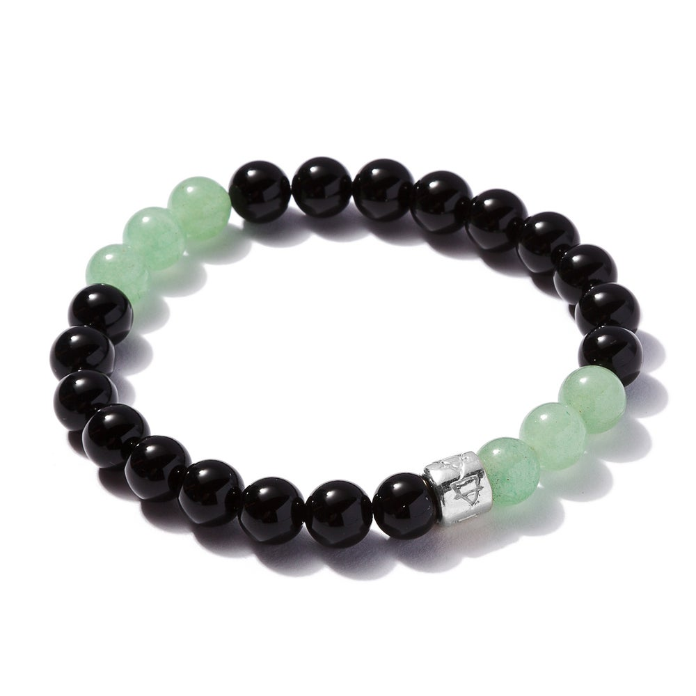 Image of Black Onyx with 6 Aventurine Beads