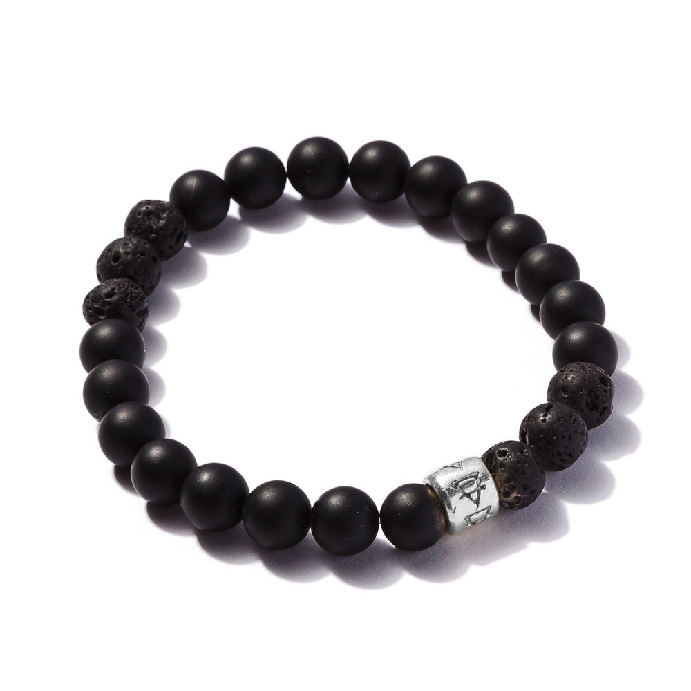 Image of Matte Onyx with 6 Lava Beads