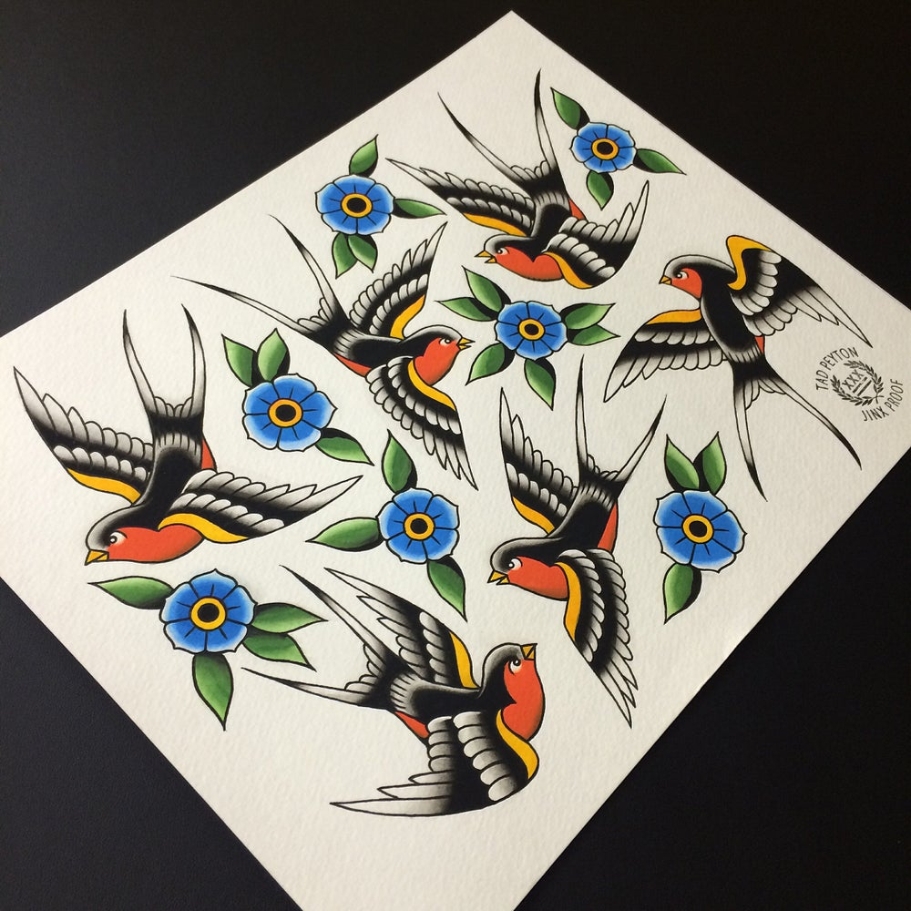 """Image of Swallows & Flowers painting 11""""x14"""""""