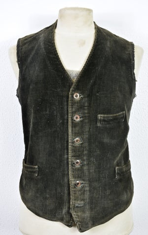Image of 1910'S FRENCH BLACK CORDUROY WAISTCOAT FADED