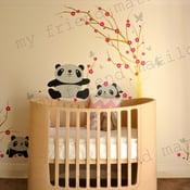 Image of Wall Decal Sticker Pandas Having Fun in Cherry Blossom Field - dd1029