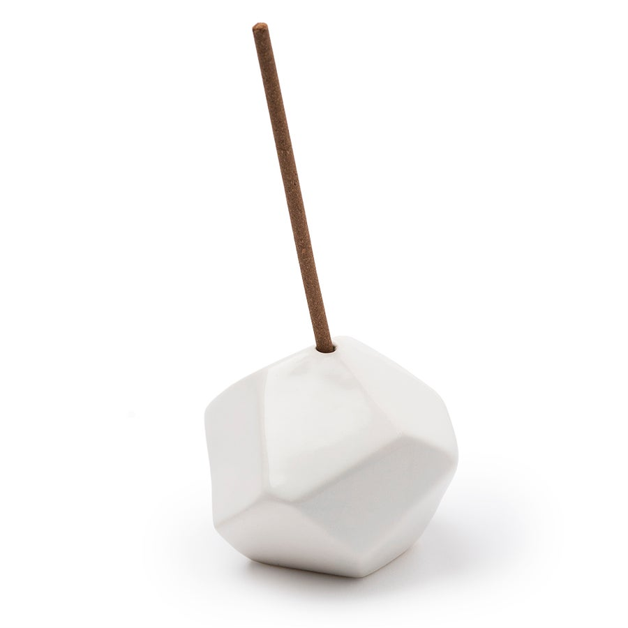 Image of White Geo Incense Holder