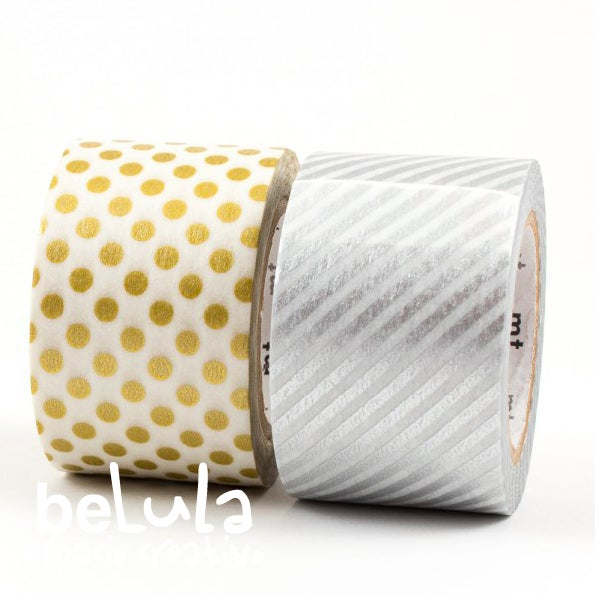 Image of Washi tape: MT Duo dot gold/stripe silver