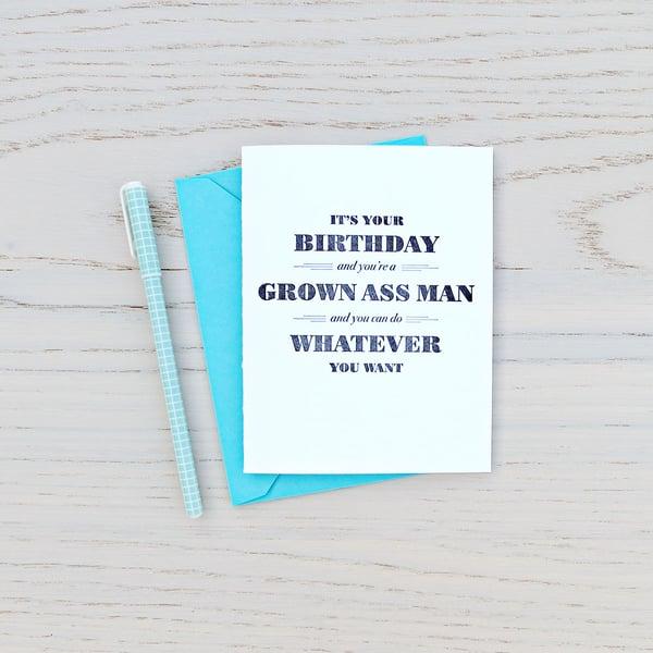 Image of grown ass man birthday letterpress card