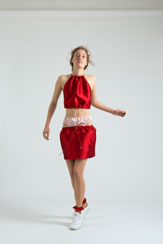 Image of THE RED SILK KNICKER SKIRT