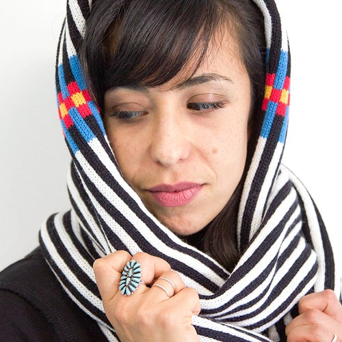 Image of Backbone Hoodie Scarf with Fringe