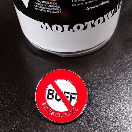 "Image of ""FUCK THE BUFF"" original FIRST LAPEL"