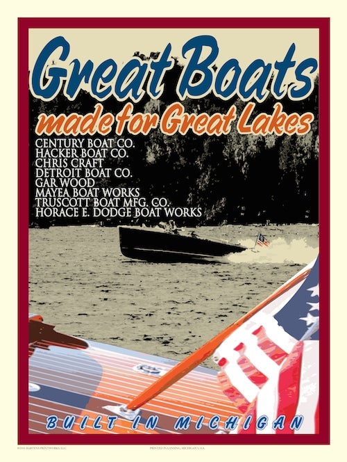 Image of Boating Great Lakes 18x24 Print No. [009]