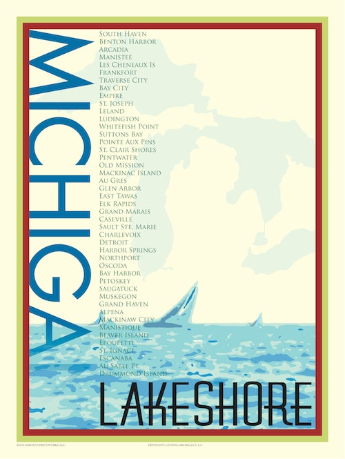 Image of Michigan Lakeshore Locations 18x24 Print No. [012]