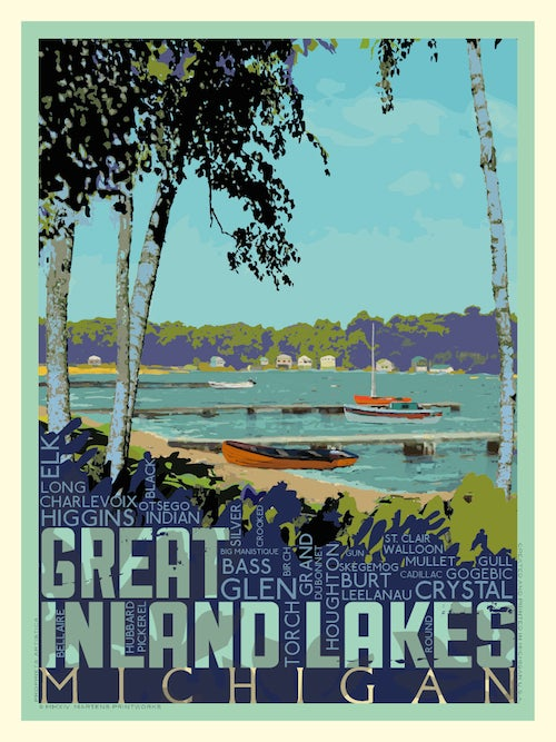 Image of Great Inland Lakes 18x24 Print No. [038]
