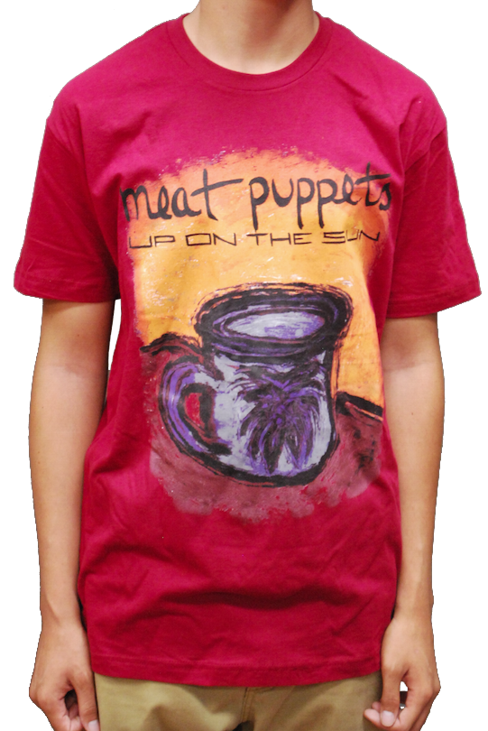 """Image of MEAT PUPPETS """"UP ON THE SUN"""" MAROON T-SHIRT"""
