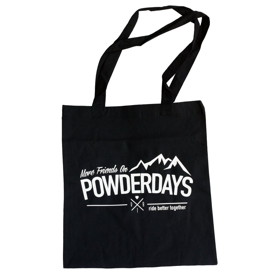 "Image of More Friends On Powder Days Cotton Bag ""Mountains"""