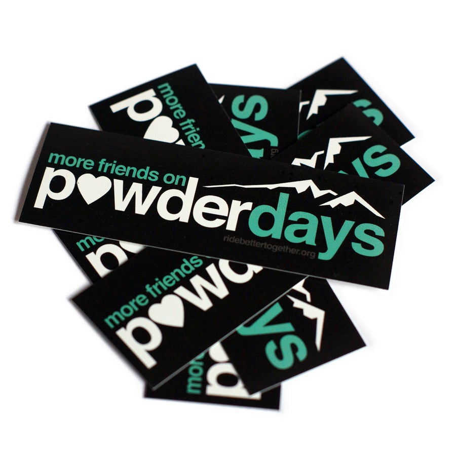 "Image of More Friends On Powder Days Sticker ""Heart"""