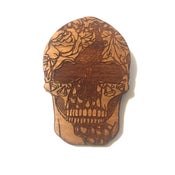 Image of Day of the Dead Illustrated Laser Engraved Peacock Sugar Skull
