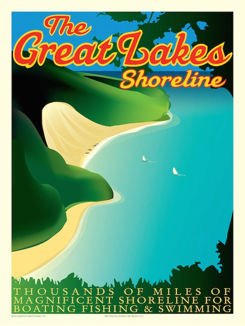 Image of Great Lakes Shoreline 18x24 Print No. [013]