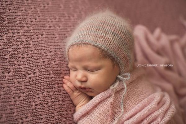 Image of angora newborn bonnet