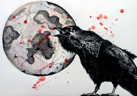 "Image of ""Raven At The Blood Moon"" Print"