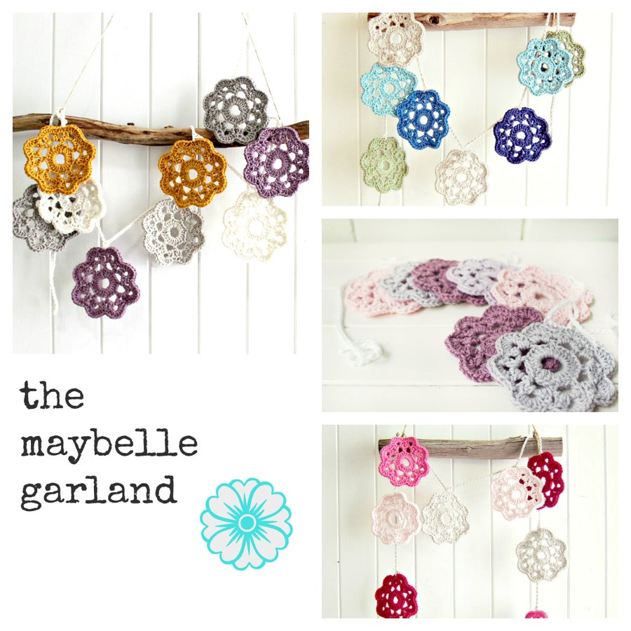 Image of the maybelle garland | crochet flower bunting