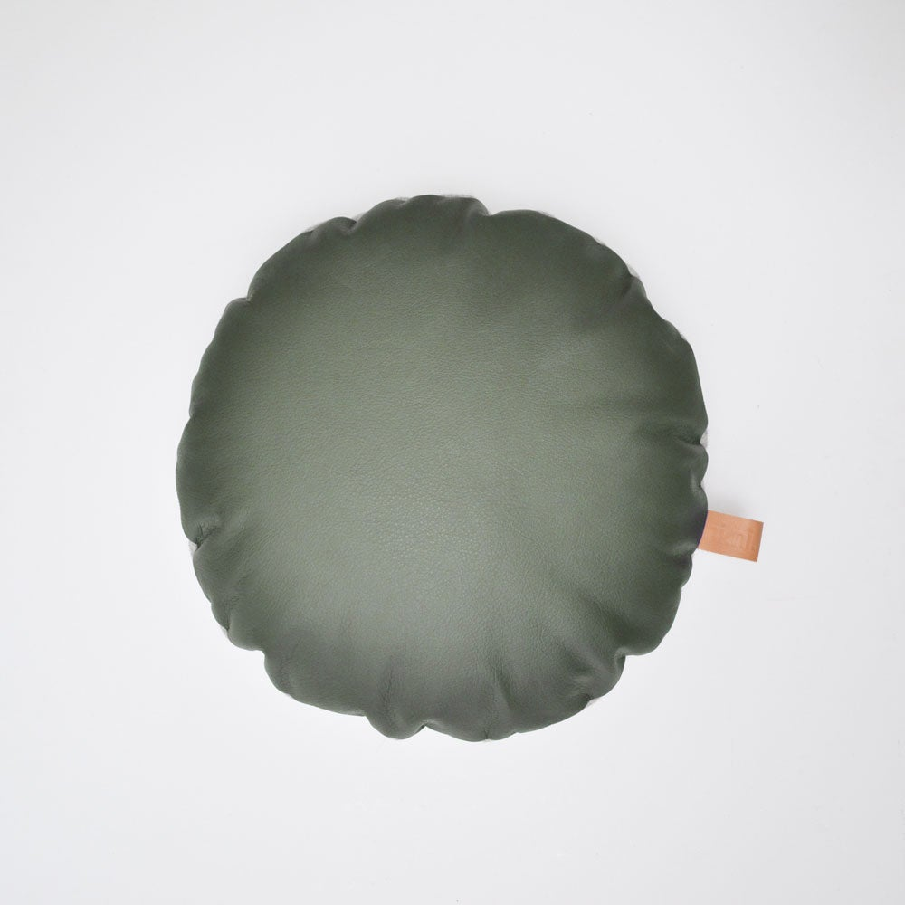 Image of SALE - LAST ONE! Leather Tab Cushion Cover - Olive Round
