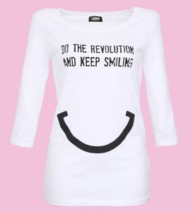 Image of DO THE REVOLUTION AND KEEP SMILING - Sleeve Shirt weiss