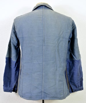Image of 1940'S FRENCH BLUE MOLESKIN WORK JACKET FADED & PATCHED