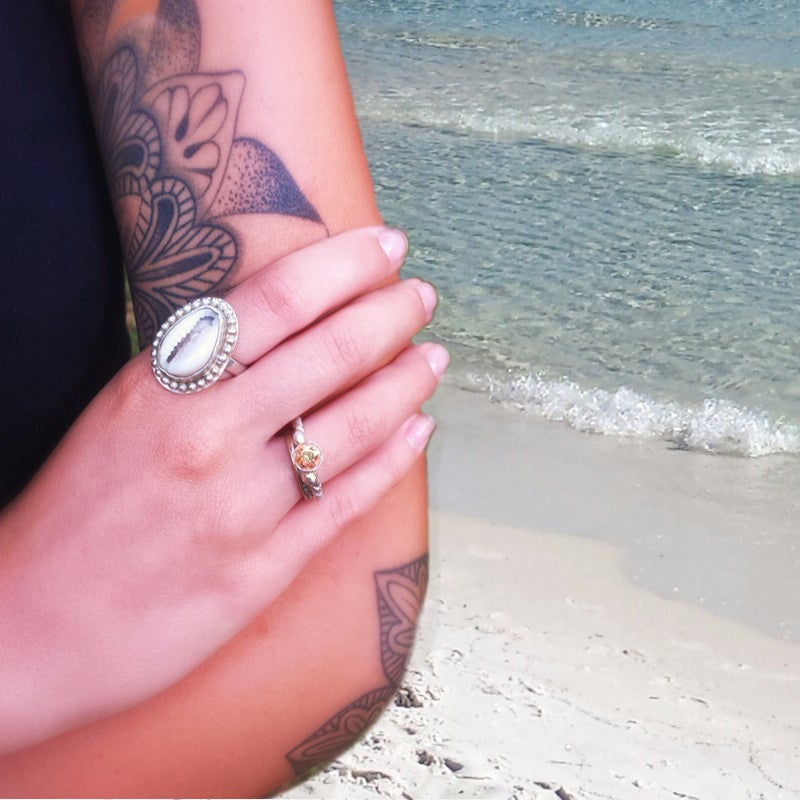 Image of Sterling Silver Cowrie Seashell Statement Ring