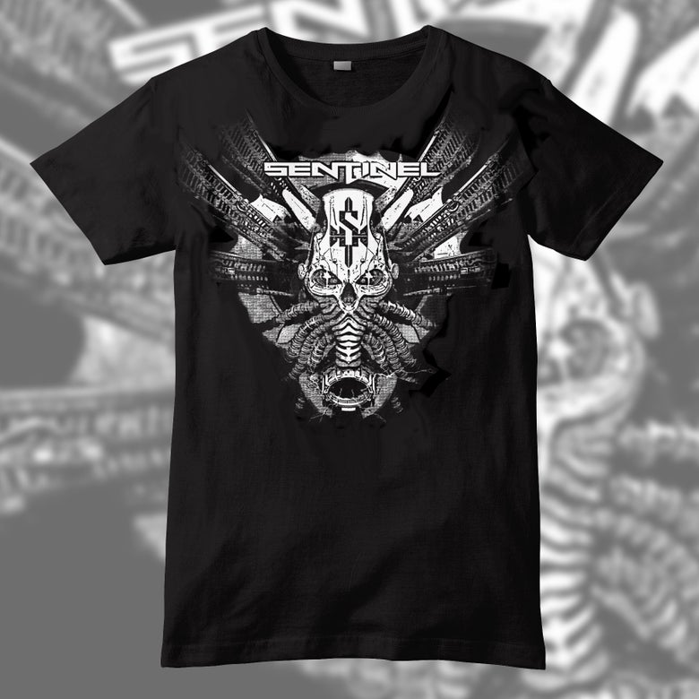 Image of Sentinel White Mecha Skull T Shirt