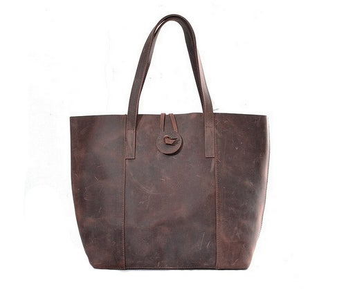 Image of Handcrafted Vintage Crazy Horse Leather Women Tote Bag, Shopping Bag, Shoulder Bag YD006