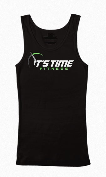 Image of It's Time Fitness Green Logo Black Tank