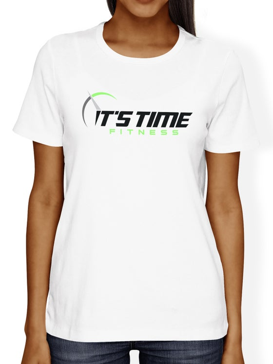 Image of It's Time Fitness Green Logo White Tee