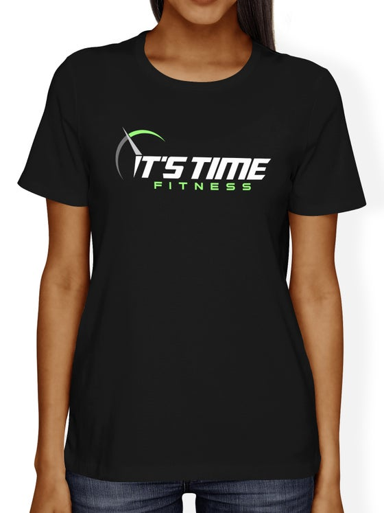 Image of It's Time Fitness Green Logo  Black Tee