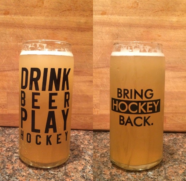 20oz Drink Beer Play Hockey Tall Boy Glass RE-STOCK [Shipping Included]