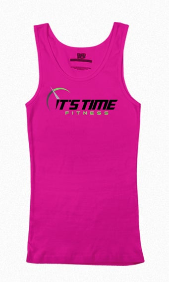 Image of It's Time Fitness Green Logo Pink Tank