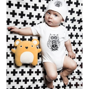 Image of Baby body (15€) and/or baby beanie (8€) OWL DESIGN
