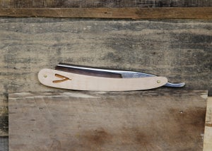 Image of Personalized Handmade Straight Razor with Travel Strop - Maple