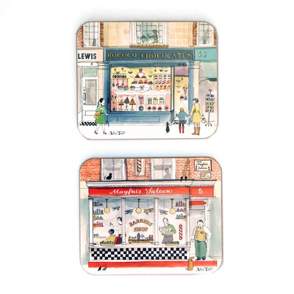Alice Tait 'London Shop Fronts' Coasters - Alice Tait Shop