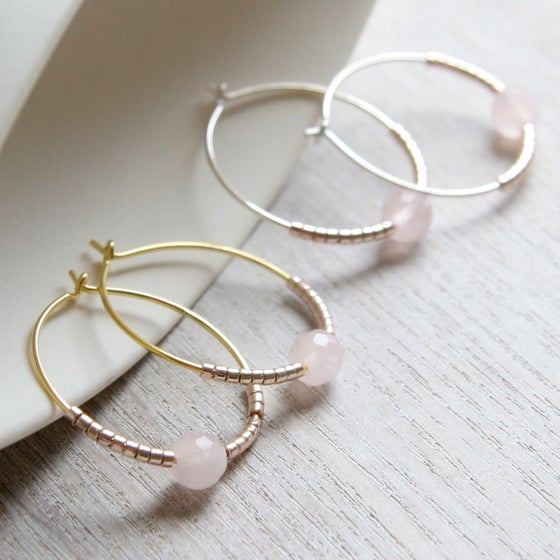 Image of Faceted Rose Quartz And Petite Beads Hoops