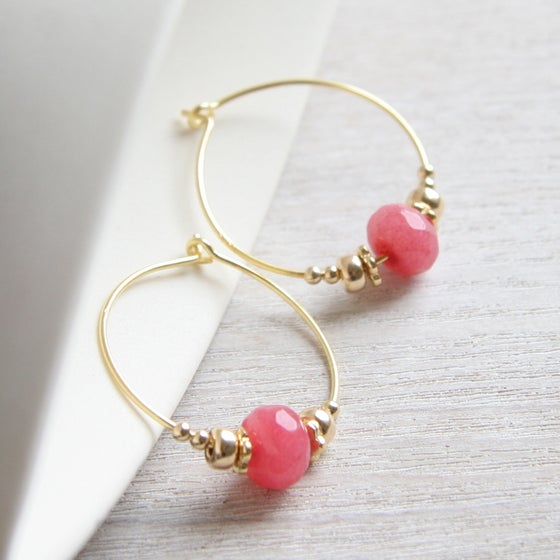 Image of Stacked Beads And Faceted Jade Hoop Earrings