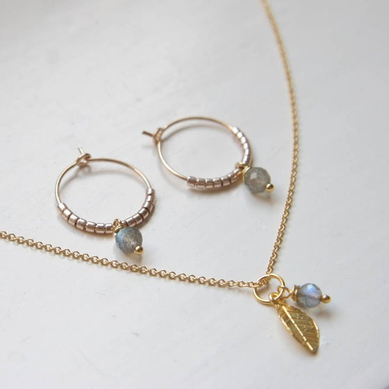 Image of Gold And Labradorite Jewellery Set