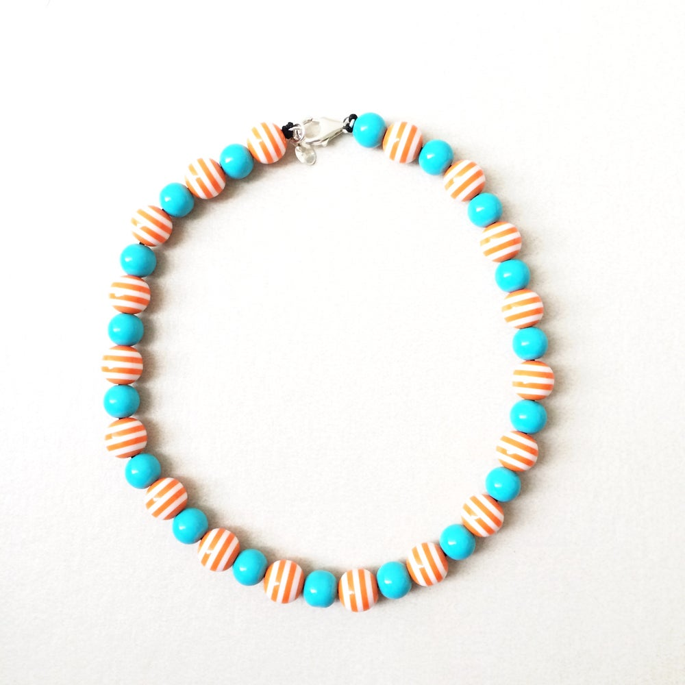 Image of Tangerine ~ Orange and Teal Beaded Dog Necklace