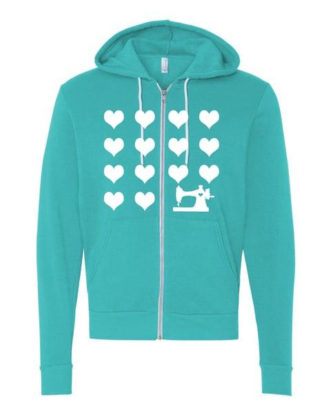 Image of Teal I Heart Sewing Zip Hoodie Sweatshirt